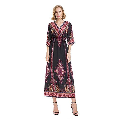 eb0125452d2c Tromba Rosso donna Vestito Nazionale Eleganti Lunghe Con V Panpany Di  Promenade Donna Stile A Stampa Lunghi Scollo Da Maniche Abiti ...