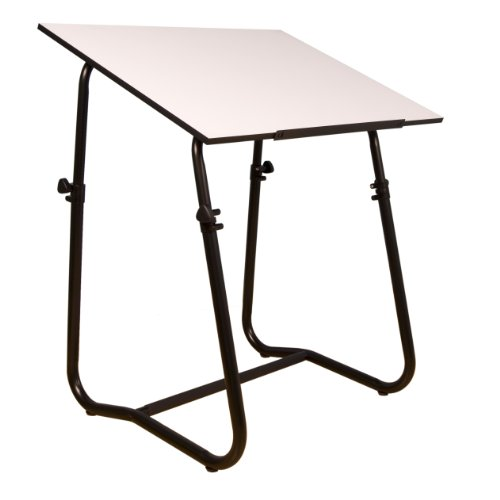 Tech Drafting Table - Black  Base (White Table Drafting Laminated)