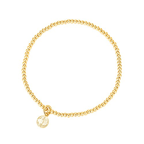 MetJakt Sleek Elastic Beads 18K Gold Plated Classic Stretch Bracelet with Various Pendants (Double Happiness, Yellow-Gold-Plated-Base) - Double Strand Name Bracelet