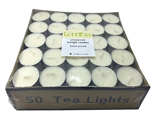Unscented Palm Votives (Littras 8-9 Hours Prime Quality Vegetable Palm Oil Wax White Unscented Tealight Candles-Each 27Gram/50PACK)