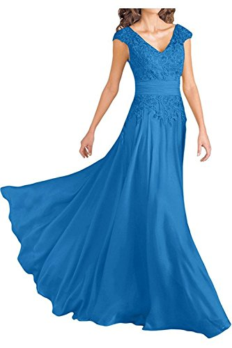 Women's Blue Double V-Neck Cap Sleeves Long Chiffon Mother Of Bride Dresses Empire Waist Size ()
