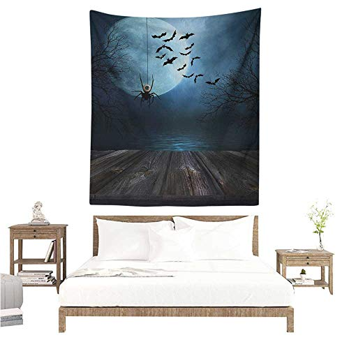 WilliamsDecor Polyester Tapestry Halloween Misty Lake Scene Rusty Wooden Deck Spider Eyeball and Bats with Ominous Skyline 40W x 60L INCH Suitable for Bedroom Living Room Dormitory