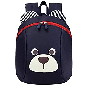 Baby Backpack with Anti-Lost Belt/Harness, Kids School Rucksack for 1-3 Years, Toddler Girls Boys Rein Backpack-Black