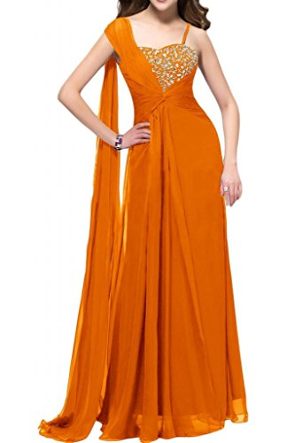sunvary Gorgeous Spaghetti Strap corte slim para mujer gasa Pageant Prom Fiesta oro amarillo