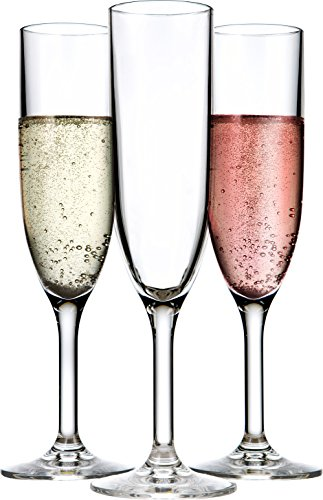 Drinique VIN-CF-CLR-24 Champagne Flutes Unbreakable Tritan Stemware, 6 oz (Case of 24), ()