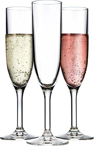 - Drinique VIN-CF-CLR-24 Champagne Flutes Unbreakable Tritan Stemware, 6 oz (Case of 24), Clear