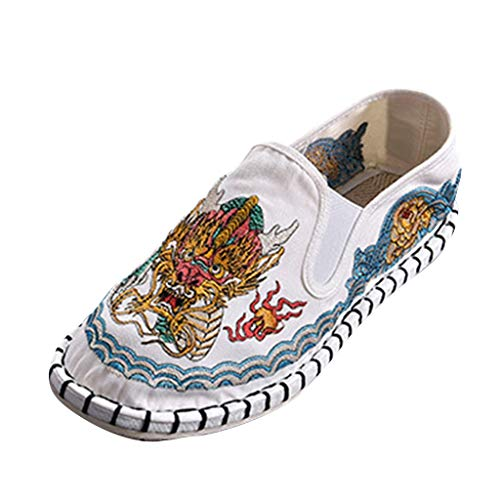 - Shusuen Unisex Embroidery Slip On Sneakers Casual Flat Shoes Loafer
