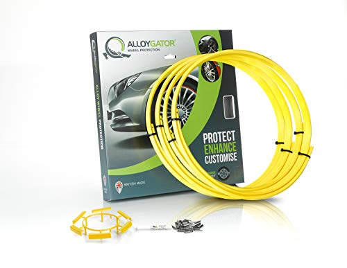 Aftermarket Alloy Wheels - Alloygator Alloy Wheel Protection (Made in Britain) Rim Protector Complete Set of 4 Yellow Color Excellent Fitment (FITS 13
