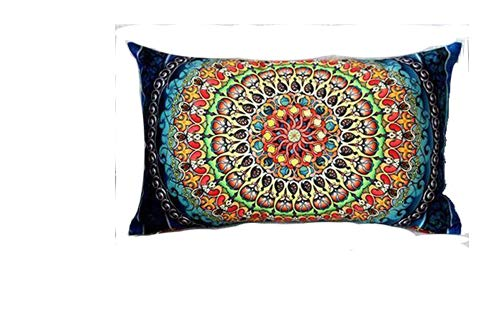 Cotton Linen Home Office Decorative Throw Waist Lumbar Pillow Case Cushion Cover Beautiful Bohemian Flower Boho Geometric Floral Mandala Pattern Royal Blue Rectangle 12 X 20 Inches