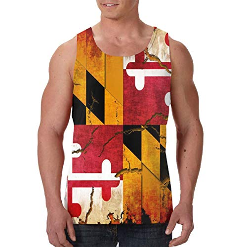 FANTASY SPACE Athletic Sleeveless Undershirt for Mens Boys Youth Sweatproof Workout & Training Activewear Tank Tops Vests Slim Fit Shirts, Vintage Wooden Maryland Flag -