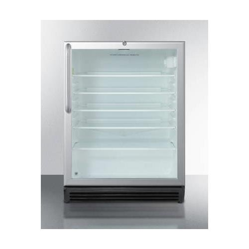 SCR600BLCSSADA 24'''' Commercially Approved & ADA Compliant Compact Refrigerator with 5.5 cu. ft. Capacity Door Lock Interior Light Adjustable Thermostat and Glass Door with Aluminum Trim