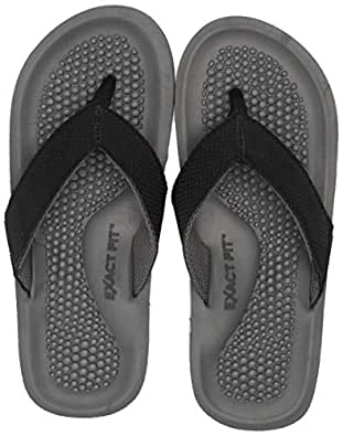 Exact Fit Men Flip Flop Slide Beach Sandals Comfortable Thong Sandals for Men Indoor Outdoor Black Size: 8-9 M US