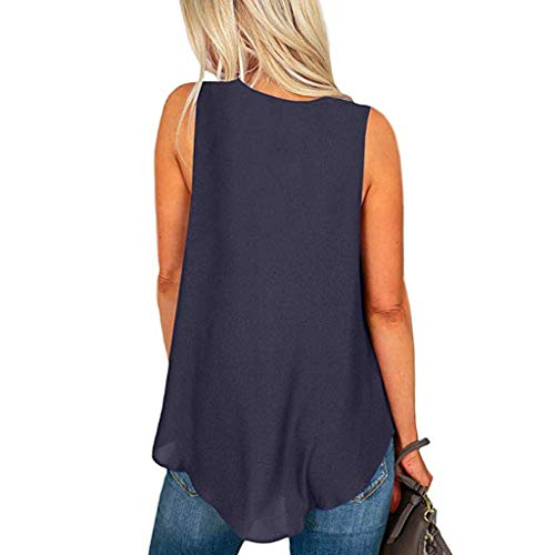 Women's Plus Size Tank Tops V Neck Summer Sleeveless Casual Basic Loose Cami Shirts Blouse (L, Blue) by FDSD Women Top (Image #2)