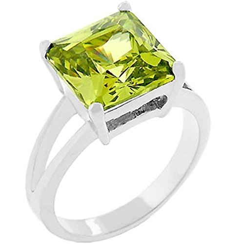 [Yellow Cubic Zirconia Gypsy Silver Colored Engagement Ring, Size 10] (Gypsy Costume Couple)