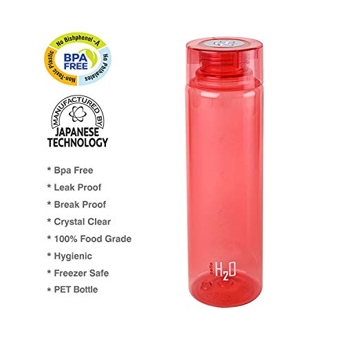 Cello H2O Round Plastic Water Bottle, 750ml, Set of 4, Red