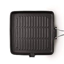 Bialetti 0LTGR024 - Plancha en Hierro Fundido de inducción con Mango Plegable. Acero/baquelita/Aluminio, Aluminio, Negro, 24x24x5.5 cm