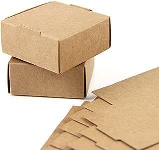 SUNBEAUTY Cajas Kraft marrón de la regalos, Cajas de Papel Kraft Marrón Cartón, Caja de Cartón Pequeño, 5.5 * 5.5 ...