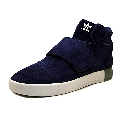 (adidas Men's Tubular Invader Strap Dark Blue/Clear Aqua High-Top Leather Basketball Shoe - 13M)
