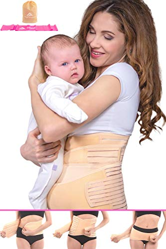 (Postpartum Belly Wrap 3 in 1 Support Recovery Band Set Waist, Pelvis Belt - Body Shaper Trainer - Postnatal Shapewear Tummy Cinch - C Section Girdle, Corset - Post Pregnancy Posture |Watch Video| (L))