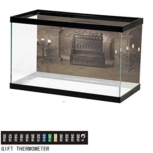 bybyhome Fish Tank Backdrop Gothic,Renaissance Castle King,Aquarium Background,24