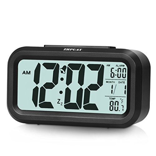 "[Upgrade Version] ZHPUAT 4.6"" Smart Backlight Alarm Clock with Dimmer (Black)"