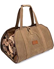 Firewood Log Carrier Waxed Canvas Wood Tote Carrying Bag for Fireplace or Camping (Khaki)