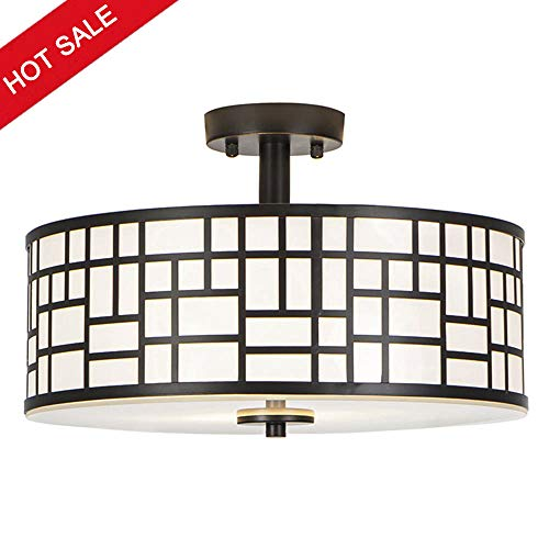 - GLANZHAUS Contemporary Fashion Style 13 Inches Inner White Acrylic Diffuser Flush Mount Ceiling Light, Lattice Outer Black Metal Shade Suitable for Living Room Bedroom Dinning Room