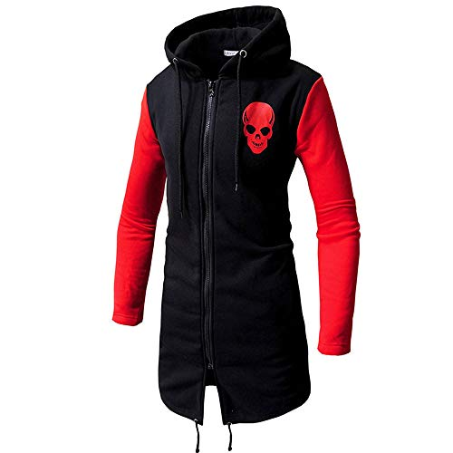DIOMOR Mens Fashion Skull Logo Halloween Hooded Long Jacket Full Zip Coat Teens Outerwear Hoodie Windbreaker Sweatshirt
