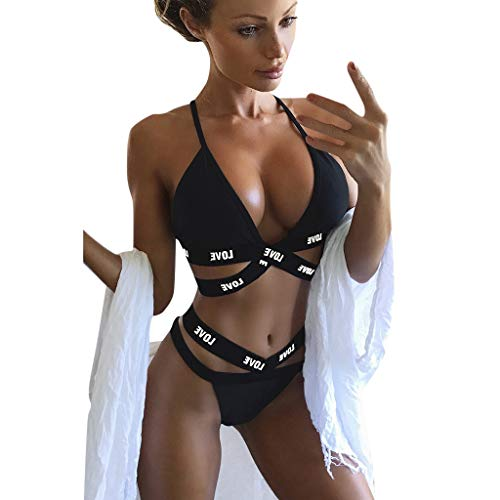 XILALU Women Sexy Letter Bandage Bikini Set Push-Up Padded Bra Swimsuit Bathing SuitBeachwear Black