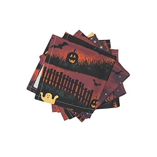 Vintage Halloween Organic Cotton Sateen Cloth Cocktail Napkins - Jack O Lantern Night Scene Bats Magical Haunted House Scary by Byre Wilde (Set of 4) 10 x 10in