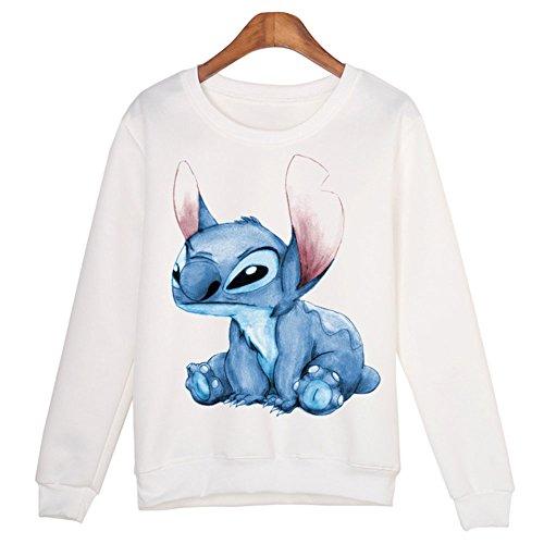 Catamaran Women Cute Cartoon Stitch Printed Long Sleeve Sweatshirt (Stitch Sweater)