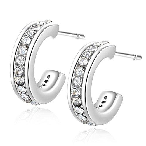Gold Plated Cubic Zirconia CZ Pave Inlaid Half Hoop Loop Stud Earrings for Women, (Loop Stud)