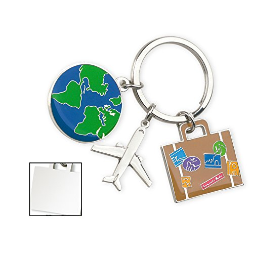 Miniature Split Ring - Cute Gift, Tourismo Keychain With 3 Charms: Globe, Suitcase and Airplane