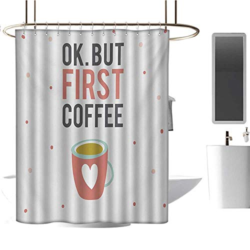 Funny Words Custom Made Shower Curtain OK But First Coffee Quote Mug with a Heart Shape on Polka Dotted Background Bathroom Set with Hooks Multicolor