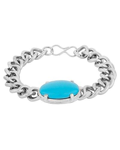 JDX Blue Stone Metal Chain Bracelet For Men