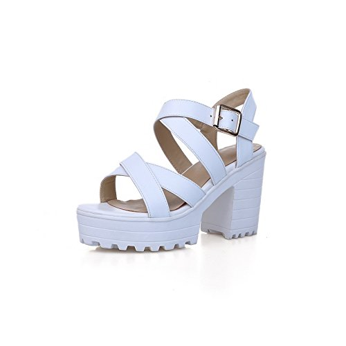 AmoonyFashion Womens Solid Cow Leather Kitten-Heels Open-Toe Buckle Sandals White WsJC5mo