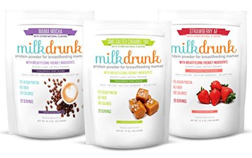 3 Bag Fenugreek-Free Variety Pack - Milk Drunk Protein Powder for Breastfeeding - 60 Servings Vegan Protein, Lactation-Boosting 17g Protein 4g Fiber 6g Sugar - Oat Flour, Flax, Brewer's Yeast