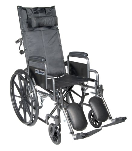 Reclining Medical Chairs - Drive Medical SSP20RBDDA Silver Sport Reclining Wheelchair with Detachable Desk Length Arms and Elevating Leg Rest, Silver Vein