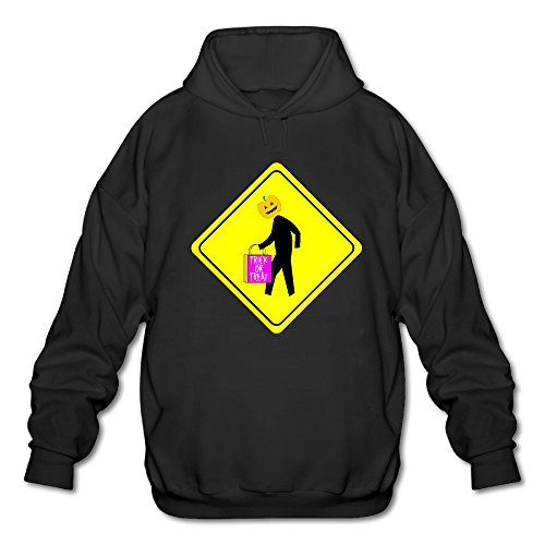Customized Thin Halloween Caution Men's Adult Long Sleeves Hooded Sweatshirt Crew Cotton Black Size L (Club Halloween Toronto)