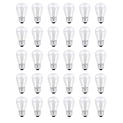 30 Pack Heavy Duty String Lights S14 Replacement Bulb Set, 120V 11W Clear Outdoor Patio Vintage Light Shatterproof Bulbs