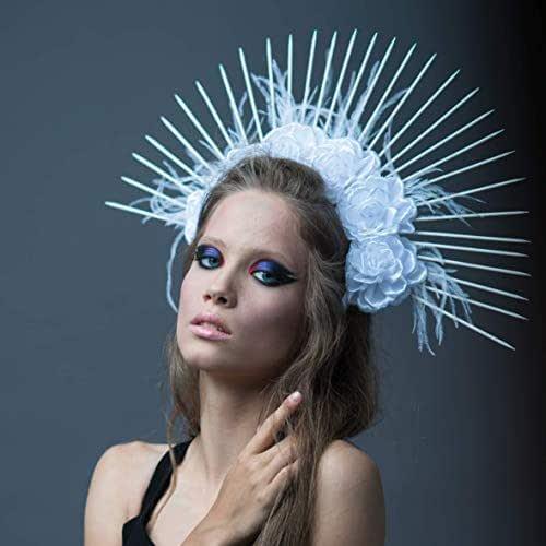 Women Floral White Feather Hair Hoop Bridal Halo Crown Virgin Mary Headpiece GH6