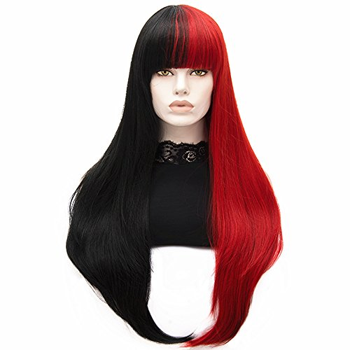 Bopocoko Women's Long Wigs Straight Synthetic Hair Black and Red Halloween Costume Cosplay Wig with Wig Cap A-BU117B ()