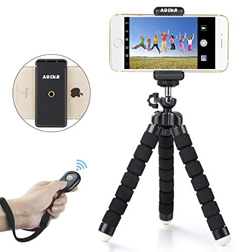 Phone Tripod, AOSHR Portable and Adjustable Camera Stand Holder with Wireless Remote Shutter, Flexible Tripod Adapter with Universal Clip, Selfie Stick Tripod for Phone & Android (Upgraded)