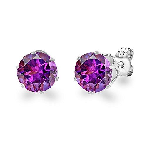 Diane Lo'ren 18KT White Gold Plated 8mm Gemstone Crystal Cubic Zirconia Studs Earrings Set Women Jewelry (Amethyst)