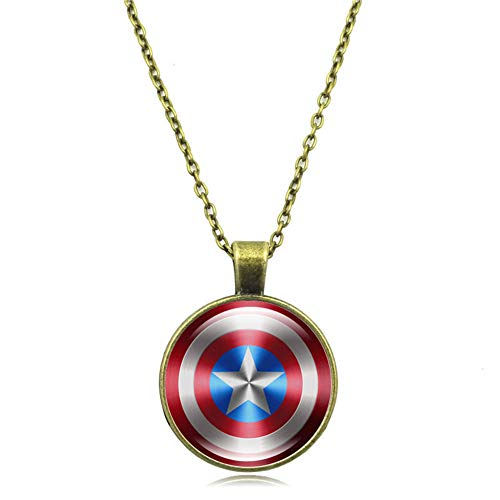 America Pendant Jewelry - Captain America Necklace, The Avengers Jewelry, Shield Pendant, Superhero Gifts Geek Present Presents (Gold)