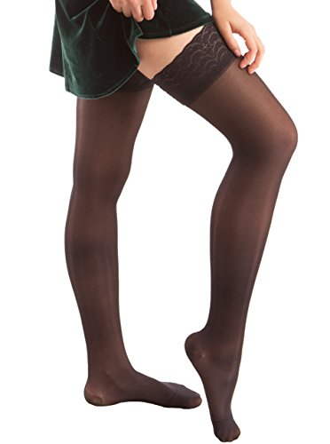 mpression Thigh Highs with Lace Top and Silicone Band, Sheer (20-30 mmHg) (X-Large, Black) ()