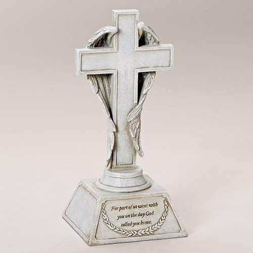 God Called You Home Angel Wings Bereavement 10 inch Stone Tabletop Cross