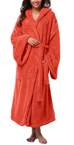 VIKEY Women's Plush Coral Velvet Robe Cozy Long Hooded Bathrobe Nightgown Orange Red L/XL -