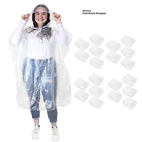 Emergency Disposable Rain Ponchos Waterproof Rain Coat with Hoods Portable for Men Women Kids One Size Fit All Great for Sporting Events Games Amusement Parks & Concerts (20)