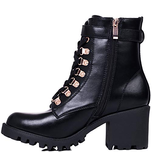 Botes Bloque Cordone Mujer Welwyn Sintético Zapatos Cuero Negro Bajas Spylovebuy Tacón xTSgn